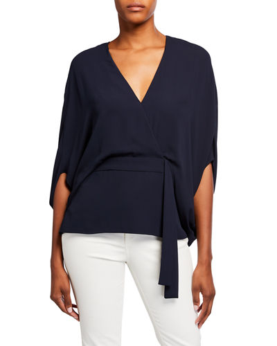 Halston Draped Sleeve V-Neck Top