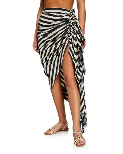 Just Bee Queen Tulum Striped Ruched Coverup