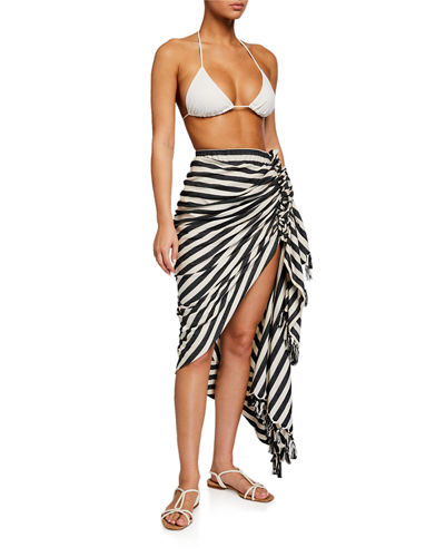 Tulum Striped Ruched Coverup