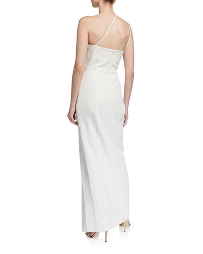 WAYF The Lenore One-Shoulder Slit-Front Gown