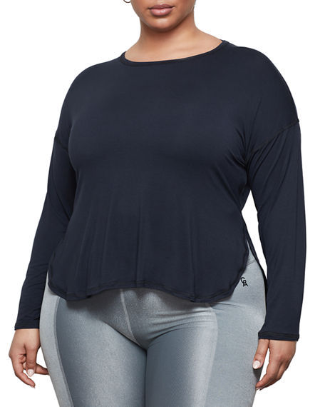 Image 2 of 4: Good American Criss Cross Back Long-Sleeve Active Top - Inclusive Sizing