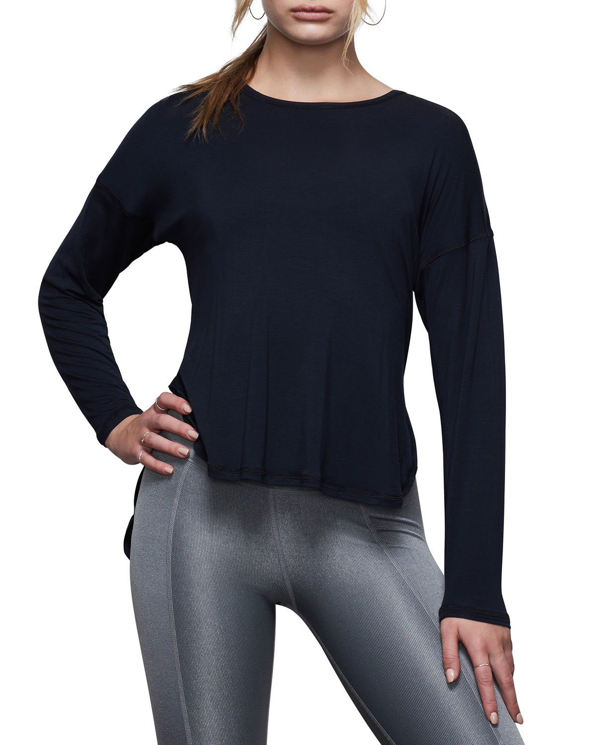 GOOD AMERICAN CRISS CROSS BACK LONG-SLEEVE ACTIVE TOP - INCLUSIVE SIZING