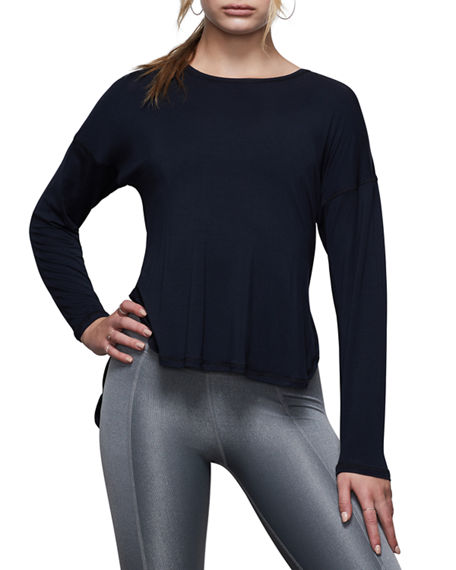 Image 1 of 4: Good American Criss Cross Back Long-Sleeve Active Top - Inclusive Sizing
