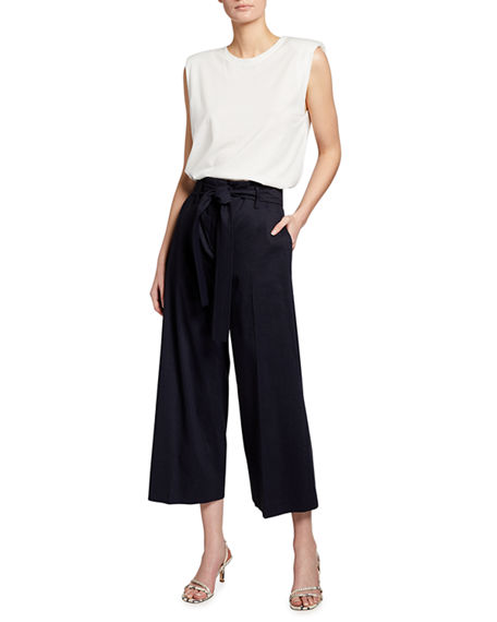 Image 3 of 3: Theory Eco Crunch Cropped Belted Pants