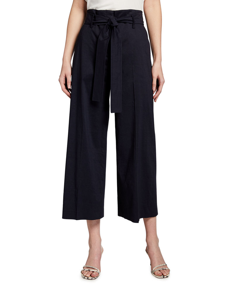 Theory Eco Crunch Cropped Belted Pants