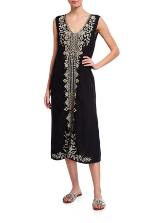 Johnny Was Petite Kemi Embroidered Linen Tank Dress