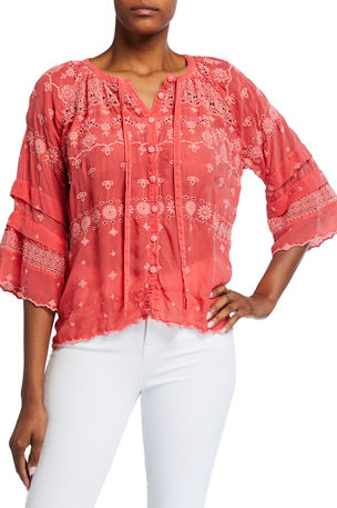 Johnny Was Plus Size Tay Tie-Front Tonal Embroidered Eyelet Top