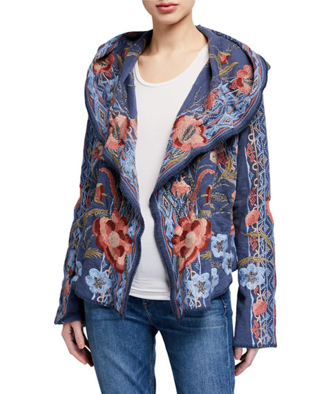 Johnny Was Syelles Embroidered Short Hoodie Jacket