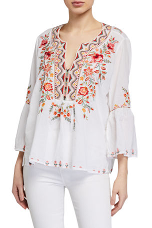 Johnny Was Alise Embroidered Flare-Sleeve Boho Blouse