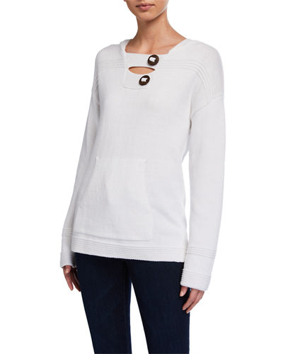 Plus Size Pullover Hoodie with Coconut Buttons