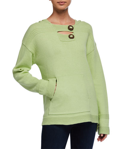 Pullover Hoodie with Coconut Buttons