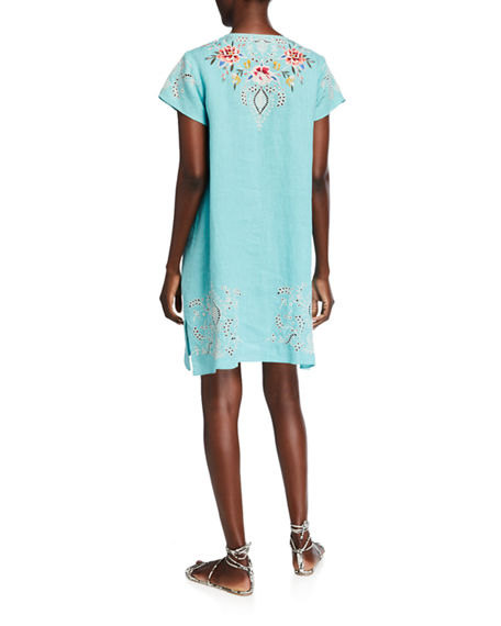 Johnny Was Assa Draped Linen Tunic Dress
