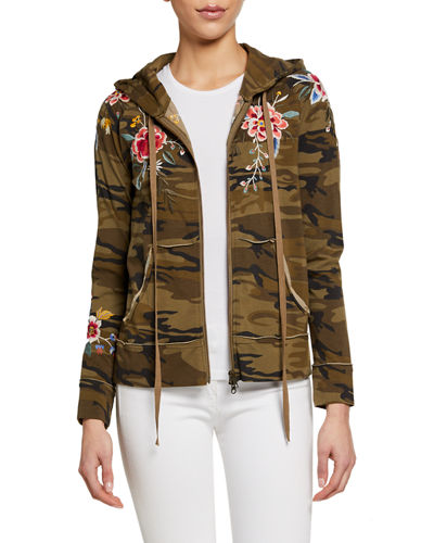 Plus Size Assa Embroidered Raw-Edge Hooded Zip Jacket