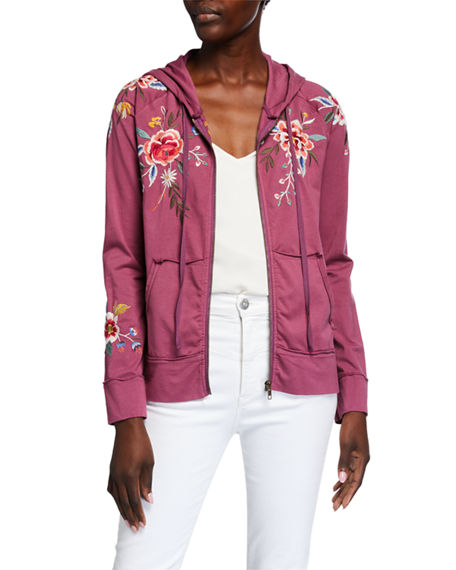 Johnny Was Plus Size Assa Embroidered Raw-Edge Hooded Zip Jacket