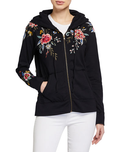 Assa Embroidered Raw-Edge Hooded Zip Jacket