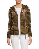 Johnny Was Assa Embroidered Raw-Edge Hooded Zip Jacket
