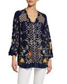 Johnny Was Luca Multi Embroidered Long-Sleeve Button-Front Blouse