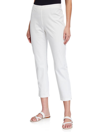 Petite Organic Cotton Stretch Twill Side Slit Ankle Pants