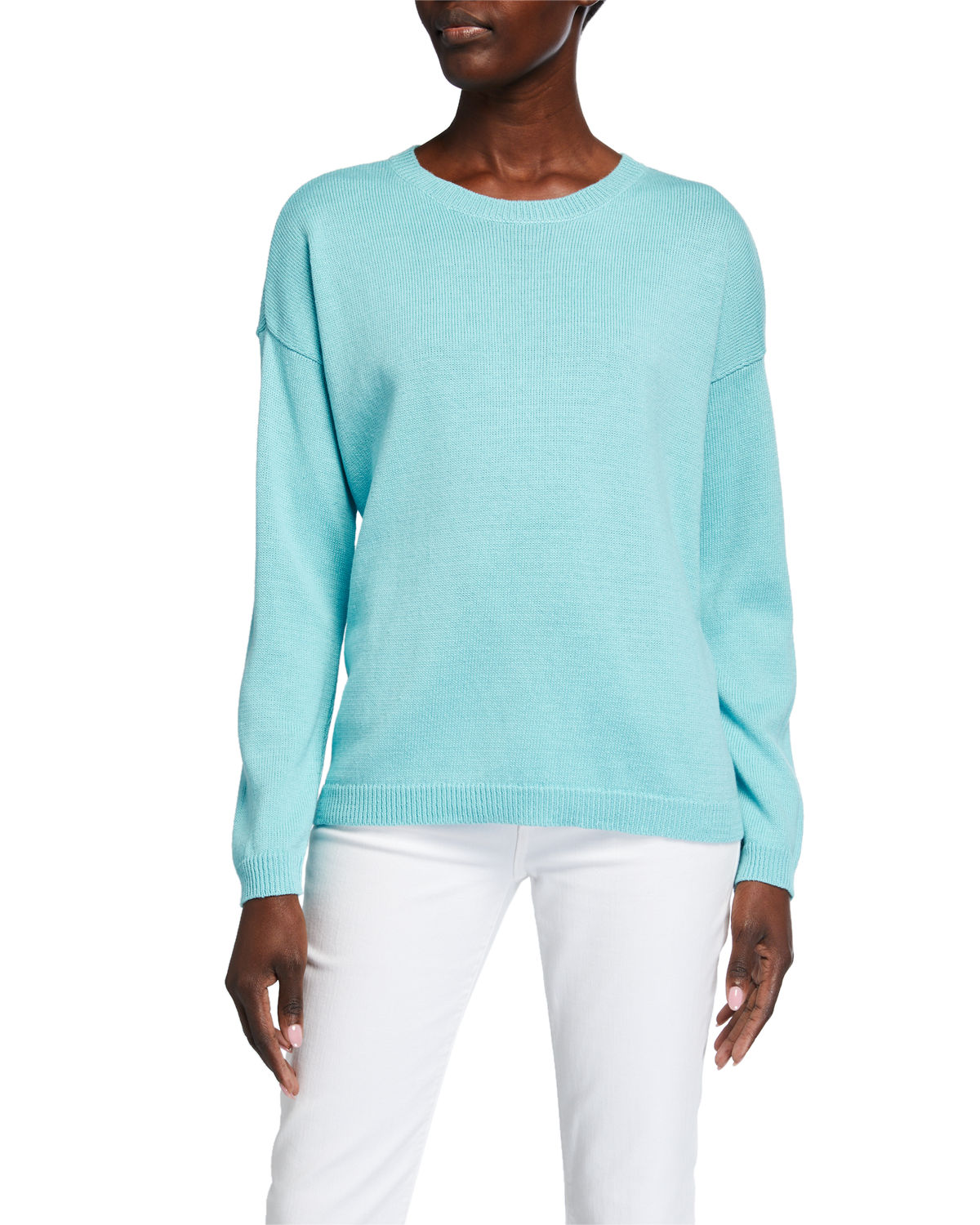 Eileen Fisher  PLUS SIZE CREWNECK LONG-SLEEVE ORGANIC COTTON SWEATER
