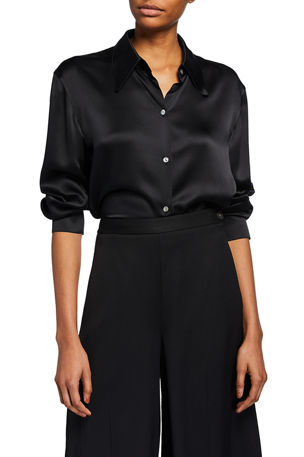Vince Shaped Collar Satin Button-Down Blouse