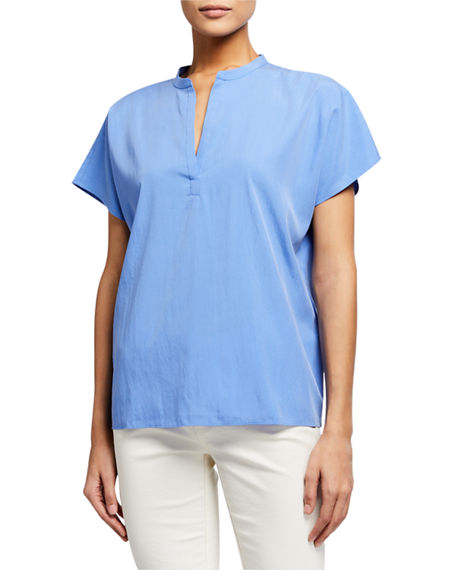 Eileen Fisher Sandwash Split-Neck Short-Sleeve Top