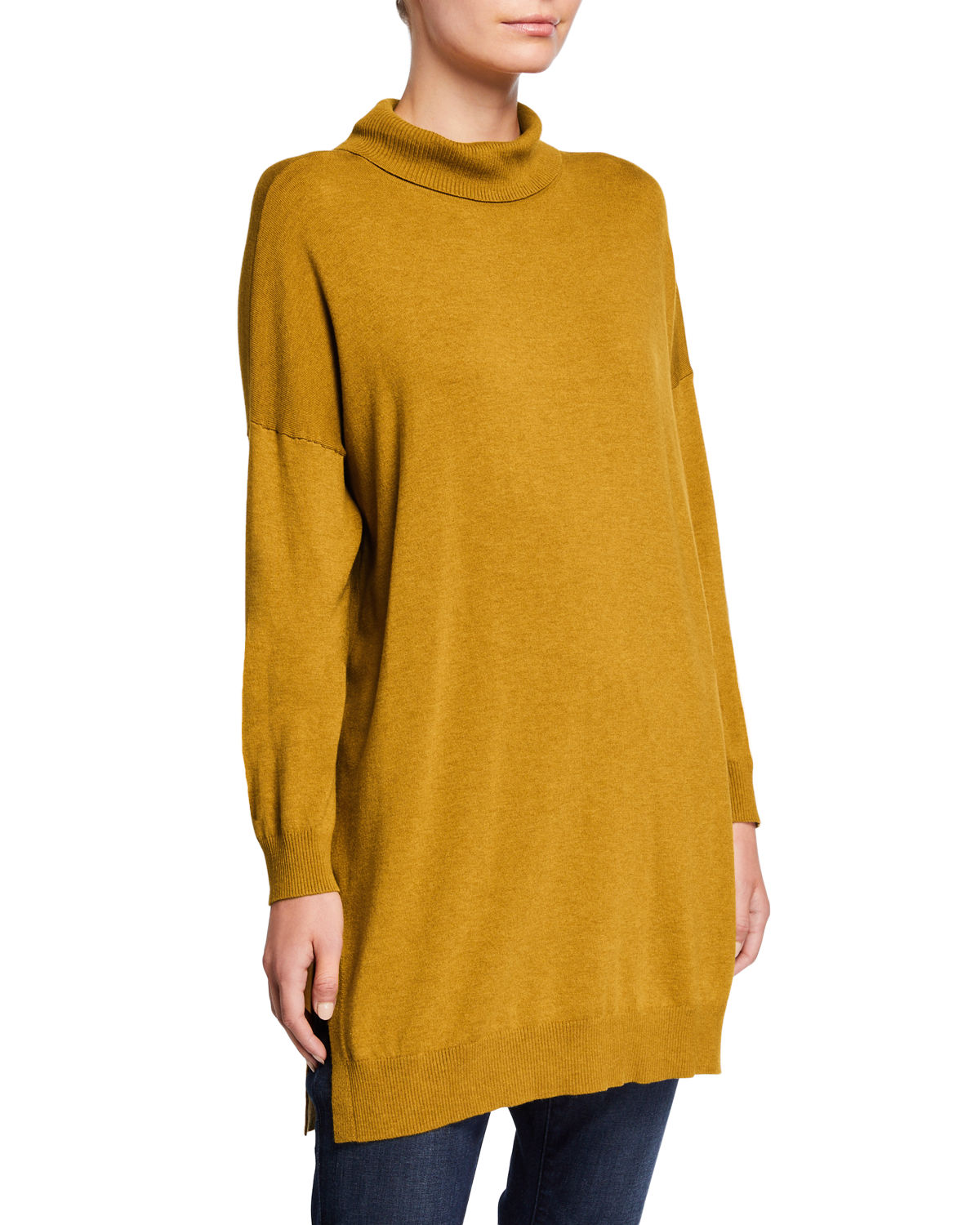 Eileen Fisher Tunics PLUS SIZE LIGHTWEIGHT COZY TURTLENECK TUNIC