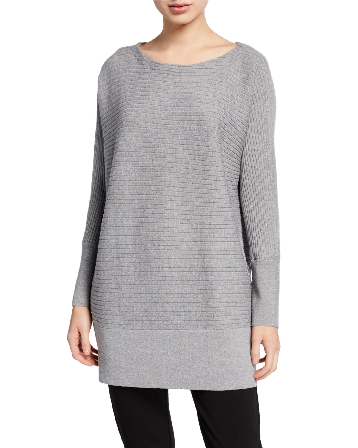 Eileen Fisher PLUS SIZE WASHABLE WOOL BATEAU-NECK RIBBED TUNIC SWEATER