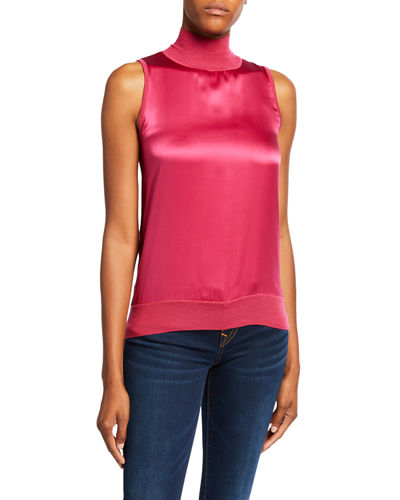 Twofer Sleeveless Cashmere & Silk Turtleneck Sweater