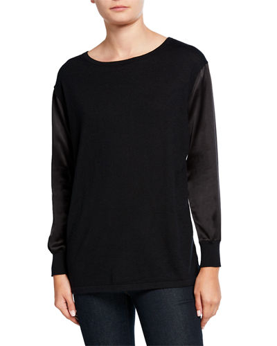 Boat-Neck Silk Sleeve & Back Cashmere Sweater