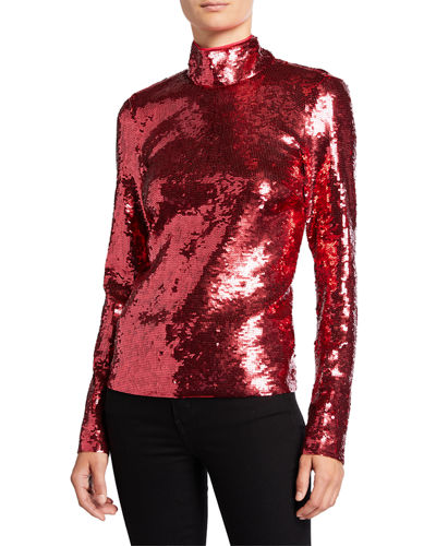 Lucinda High-Neck Sequined Top