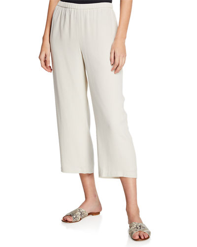 Petite Cropped Silk Georgette Straight-Leg Pants
