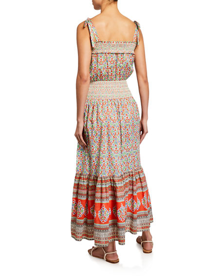 Image 2 of 2: Tory Burch Floral-Print Smocked Cotton Maxi Dress