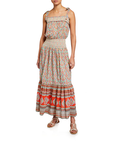 Image 1 of 2: Tory Burch Floral-Print Smocked Cotton Maxi Dress