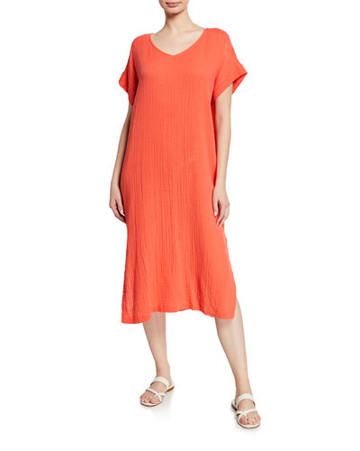 Eileen Fisher V-Neck Short-Sleeve Lofty Organic Cotton Midi Dress
