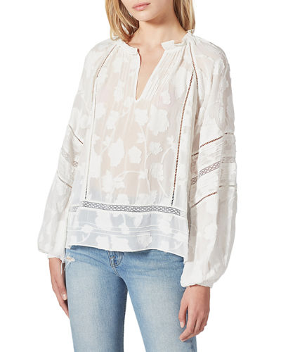 Johnny Was Womens V-Neck Bell Sleeve Blouse with Applique