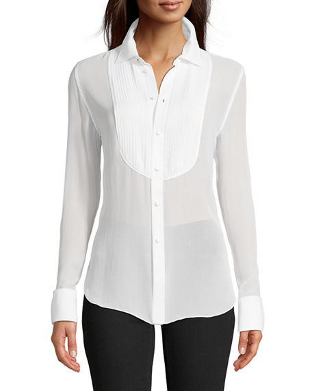 Robert Graham Marina Solid Silk Tuxedo Shirt