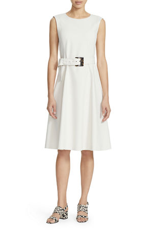 Lafayette 148 New York Leslie Sleeveless Belted A-Line Dress