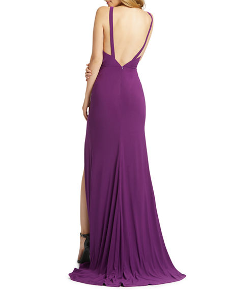Image 2 of 2: Mac Duggal V-Neck Sleeveless Thigh-Slit Jersey Gown