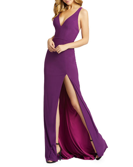 Image 1 of 2: Mac Duggal V-Neck Sleeveless Thigh-Slit Jersey Gown