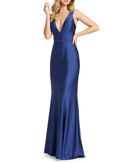 Image 1 of 2: Mac Duggal V-Neck Corset-Back Jersey Mermaid Gown