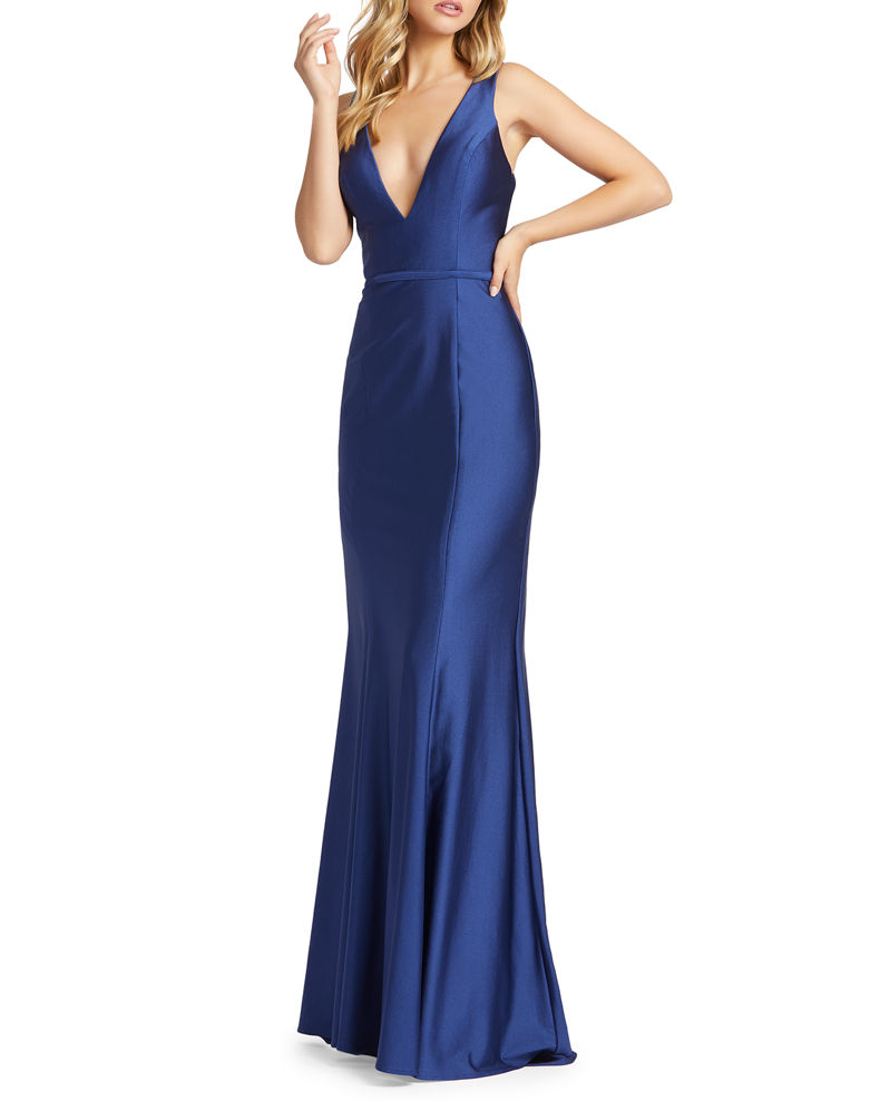 Mac Duggal V-Neck Corset-Back Jersey Mermaid Gown