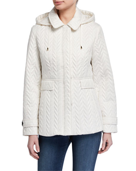 kate spade new york short quilted jacket with detachable hood