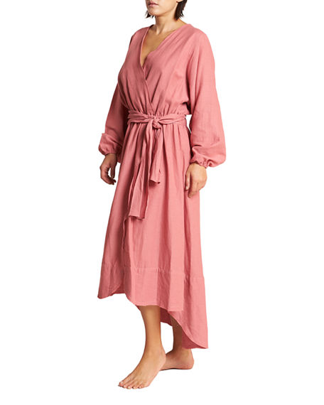 Image 2 of 3: LeSwim Conchas Long-Sleeve Belted Coverup Wrap Dress