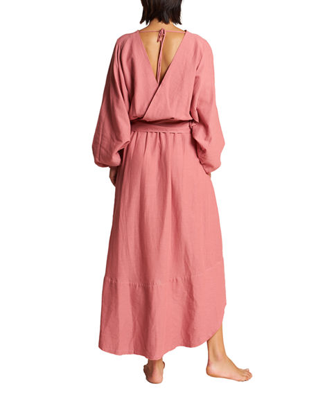 Image 3 of 3: LeSwim Conchas Long-Sleeve Belted Coverup Wrap Dress