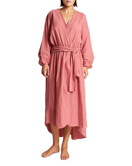Image 1 of 3: LeSwim Conchas Long-Sleeve Belted Coverup Wrap Dress