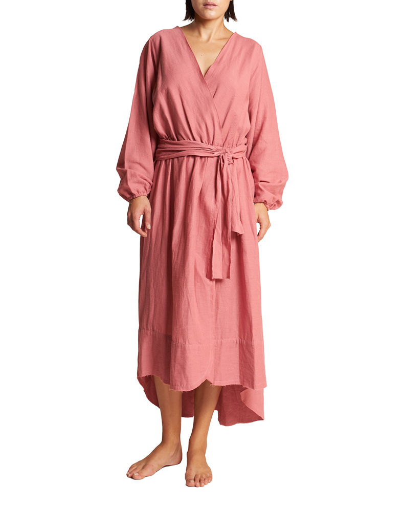 LeSwim Conchas Long-Sleeve Belted Coverup Wrap Dress