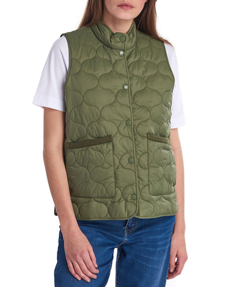 Image 1 of 5: Barbour Lola Quilted Snap-Front Gilet