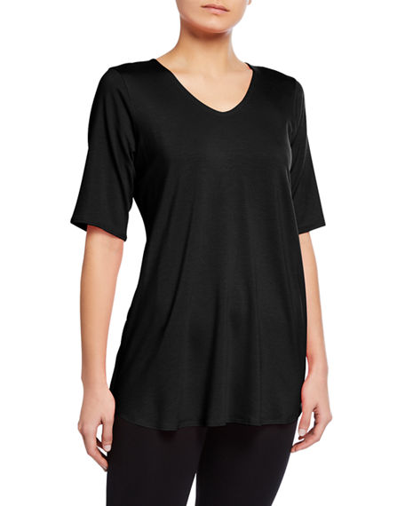 Eileen Fisher V-Neck Jersey Tunic w/ Shirttail Hem