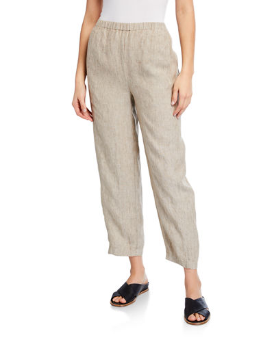 Eileen Fisher Wide-Leg Organic Linen Ankle Pants