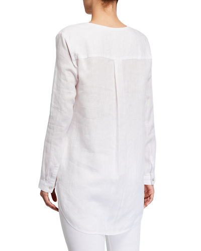 Eileen Fisher Round-Neck Organic Linen Button-Down Shirt